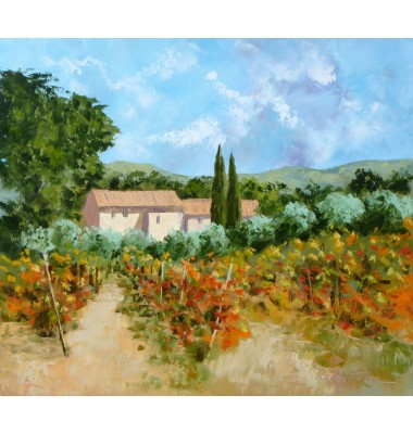 Farmhouse with vineyard and olive trees in autumn