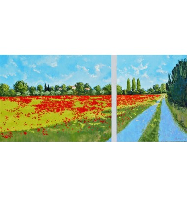 Promenade and poppies in Oppede