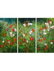 Fleurs des champs dans la nature - triptyque