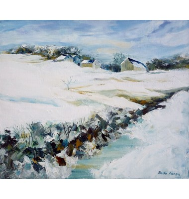Farm under the snow in Berval