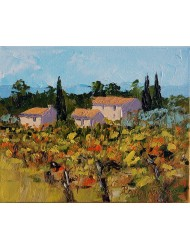 Landscape with vineyard and houses