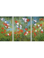 Fleurs des champs dans la nature - triptyque 2