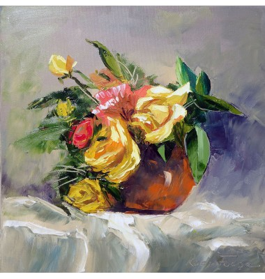 Yellow roses in a vase n°2