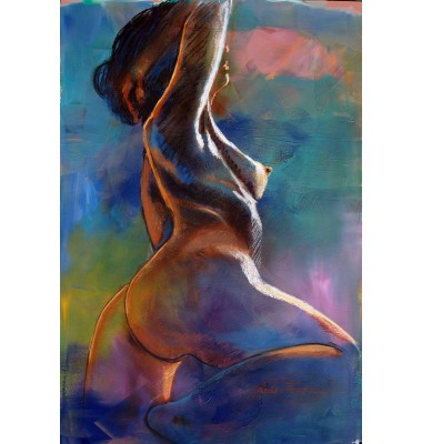 Sketch of nude on canvas with model