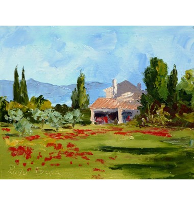 Farm with poppies