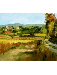 Lanscape with vineyard and houses