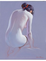 Naked crouching seen from behind